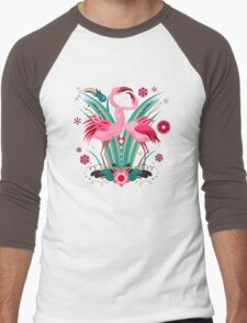 LOVE & FLAMINGO  Men's Baseball ¾ T-Shirt
