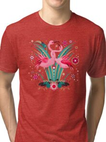 LOVE & FLAMINGO  Tri-blend T-Shirt