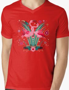 LOVE & FLAMINGO  Mens V-Neck T-Shirt