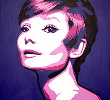 Audrey Hepburn with pink glow & purple background by Patrick Hawkins