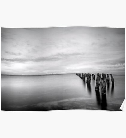 Old Jetty - Black and White 04 Poster