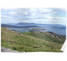 View over the Atlantic Ocean from Mountains in Ballinskelligs Poster