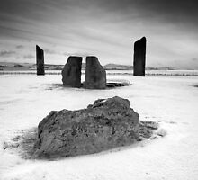 Standing Stones of Stenness - Snow Scene in B&W by Jason Roseweir