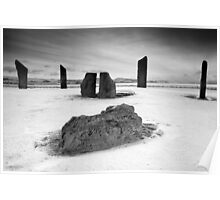 Standing Stones of Stenness - Snow Scene in B&W Poster