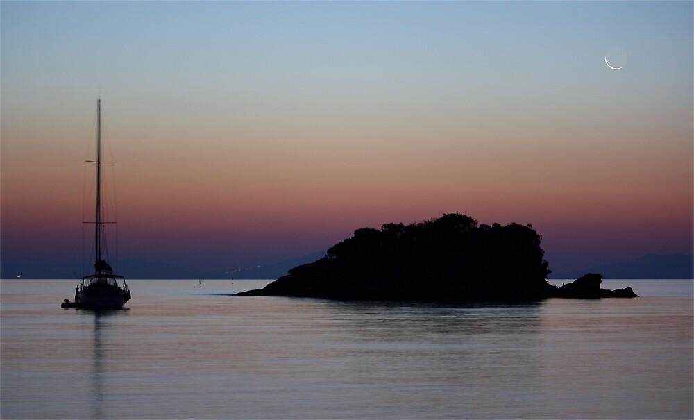 Crescent Moon over Isola d' Elba by Stefano  De Rosa