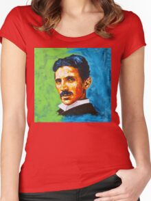 The Great Inventor - A Nikola Tesla Tribute Women's Fitted Scoop T-Shirt