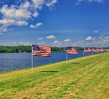 Flags on The Lake by Rick  Friedle