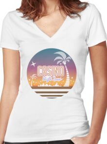 Sonic 2 - Casino Night Zone (Clean) Women's Fitted V-Neck T-Shirt