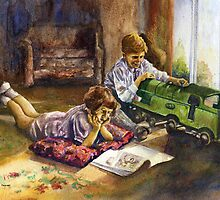 Chidren at play - the train by Pat  knight