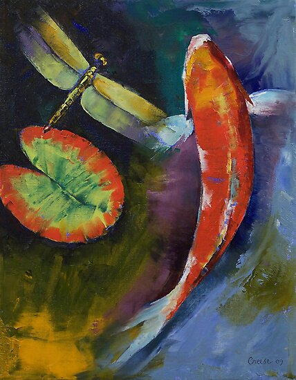 Red dragon koi photographic prints by michael creese for Koi artwork on canvas