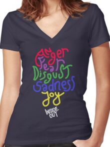 Inside Out characters with the logo! Women's Fitted V-Neck T-Shirt
