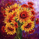 Sunflowers &amp; Poppies by Abstract D&#x27;Oyley