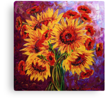 Sunflowers & Poppies Canvas Print