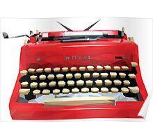 Red Geometric Vintage Typewriter Poster
