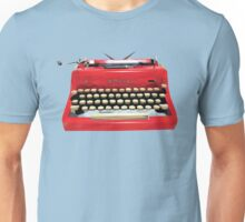 Red Geometric Vintage Typewriter Unisex T-Shirt