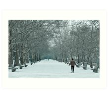 Winter Walk--Riverside Park New York City in Snow Art Print