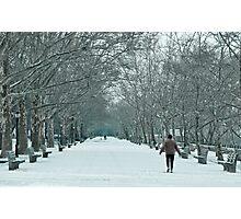 Winter Walk--Riverside Park New York City in Snow Photographic Print
