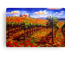 Tuscany Vineyard & Poppies Canvas Print