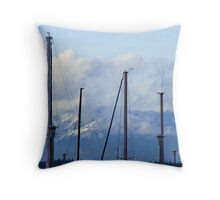 Mountains Behind The Masts Throw Pillow