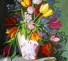 Colorful Flowers in a Vase by Dominica Alcantara