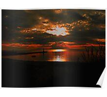 Lake Michigan Sunset Silhouette Poster