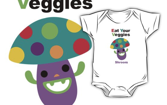 Eat your Veggies shrooms by Andi Bird