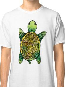 Green Watercolour Ink Drawn Turtle Pattern Classic T-Shirt