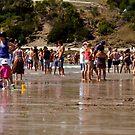 Crowded Beach by Rhonda F.  Taylor