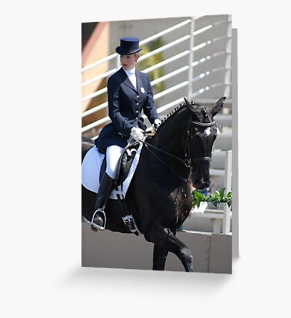 Concentration during dressage test. Greeting Card