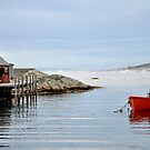 Red Boat - Peggy&#x27;s Cove Nova Scotia by Barbara Burkhardt