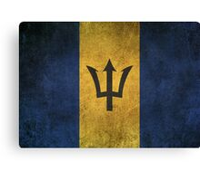 Old and Worn Distressed Vintage Flag of Barbados Canvas Print