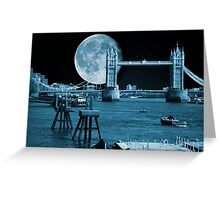 Blue Moon: Tower Bridge London UK Greeting Card