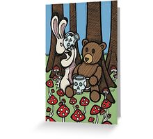 Teddy Bear and Bunny - The Mushroom Forest Greeting Card