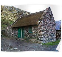 Thatched Cottage, Cill Rialaig Village - Ballinskelligs, Kerry, Ireland Poster