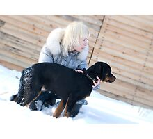 Blond Girl & Rottweiler Puppy Photographic Print