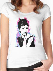 Audrey Hepburn - Street art - Watercolor - Popart style - Andy Warhol Jonny2may Women's Fitted Scoop T-Shirt