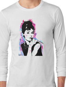 Audrey Hepburn - Street art - Watercolor - Popart style - Andy Warhol Jonny2may Long Sleeve T-Shirt