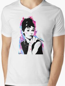 Audrey Hepburn - Street art - Watercolor - Popart style - Andy Warhol Jonny2may Mens V-Neck T-Shirt