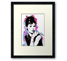 Audrey Hepburn - Street art - Watercolor - Popart style - Andy Warhol Jonny2may Framed Print