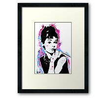Audrey Hepburn - Street art - Watercolor - Popart style - Andy Warhol Jonny2may Framed Print