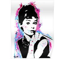 Audrey Hepburn - Street art - Watercolor - Popart style - Andy Warhol Jonny2may Poster