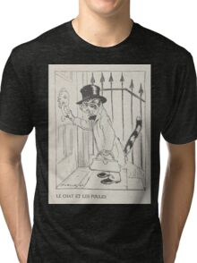 Aesop's Fables art by Arthur Rackham 1913 0028 The Cat and the Chickens Tri-blend T-Shirt