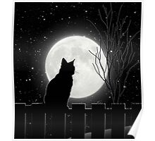 Moon Bath II, cat full moon winter night Poster