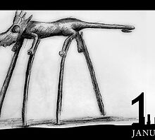 January 13th - Stilted Lizard by 365 Notepads -  School of Faces