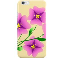 Mauve flowers on a beige background iPhone Case/Skin
