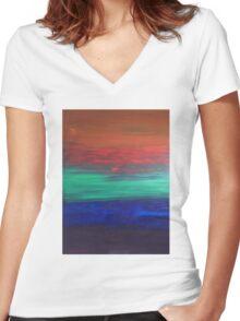 Sunset. Women's Fitted V-Neck T-Shirt