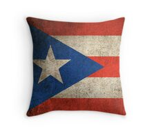 Old and Worn Distressed Vintage Flag of Puerto Rico Throw Pillow