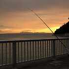 Fishing Pole Sunset at Okuma, Okinawa, Japan by J. Martinez