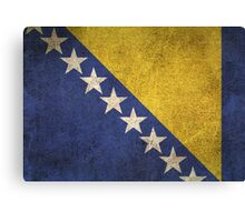 Old and Worn Distressed Vintage Flag of Bosnia - Herzegovina Canvas Print