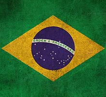Old and Worn Distressed Vintage Flag of Brazil by Jeff Bartels
